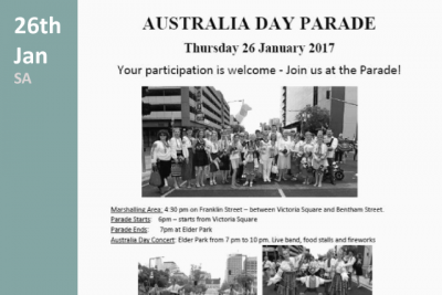 Australia day parade in South Australia