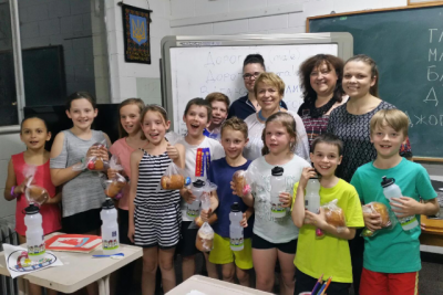 Students with their Pasky and Dnister water bottles