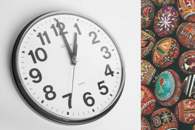 clock with pysanky
